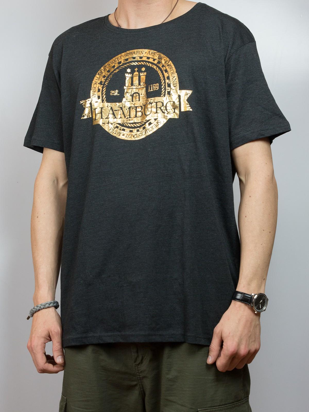 T-Shirt Hamburg Wappen - gold -
