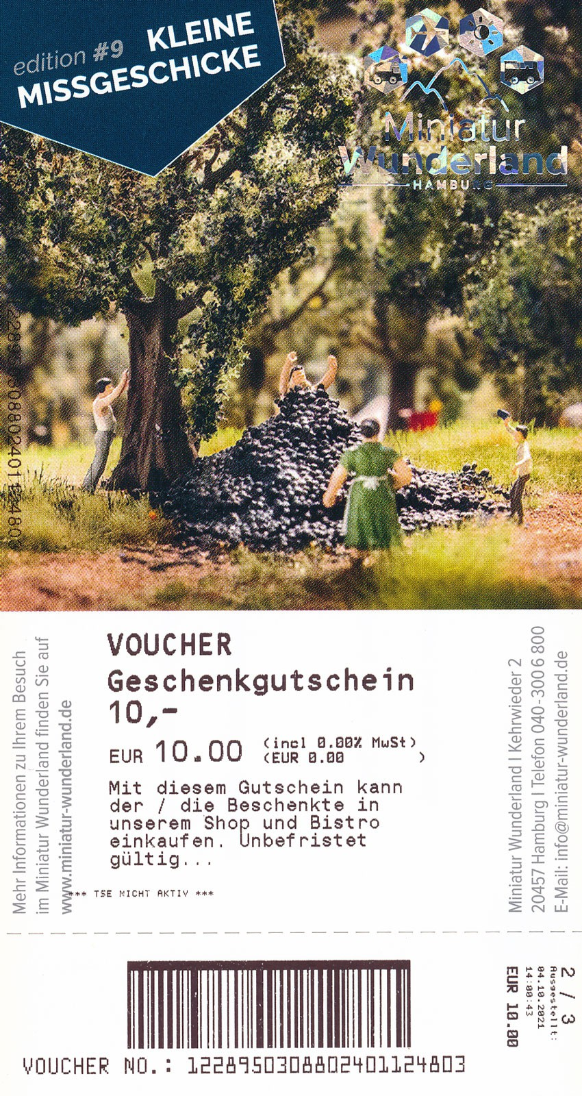 10 Euro Geschenkgutschein - Shop und Bistro