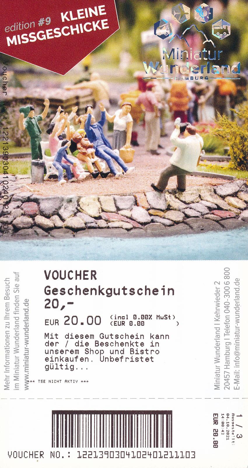 20 Euro Geschenkgutschein - Shop und Bistro