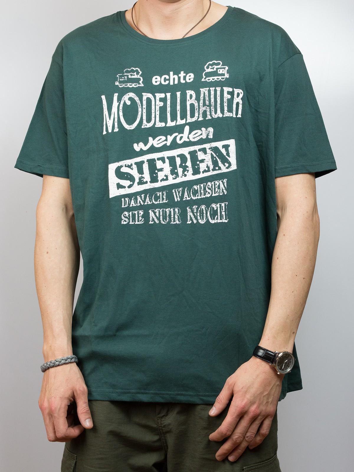 """T-Shirt """"echte Modellbauer werden sieben..."""""""