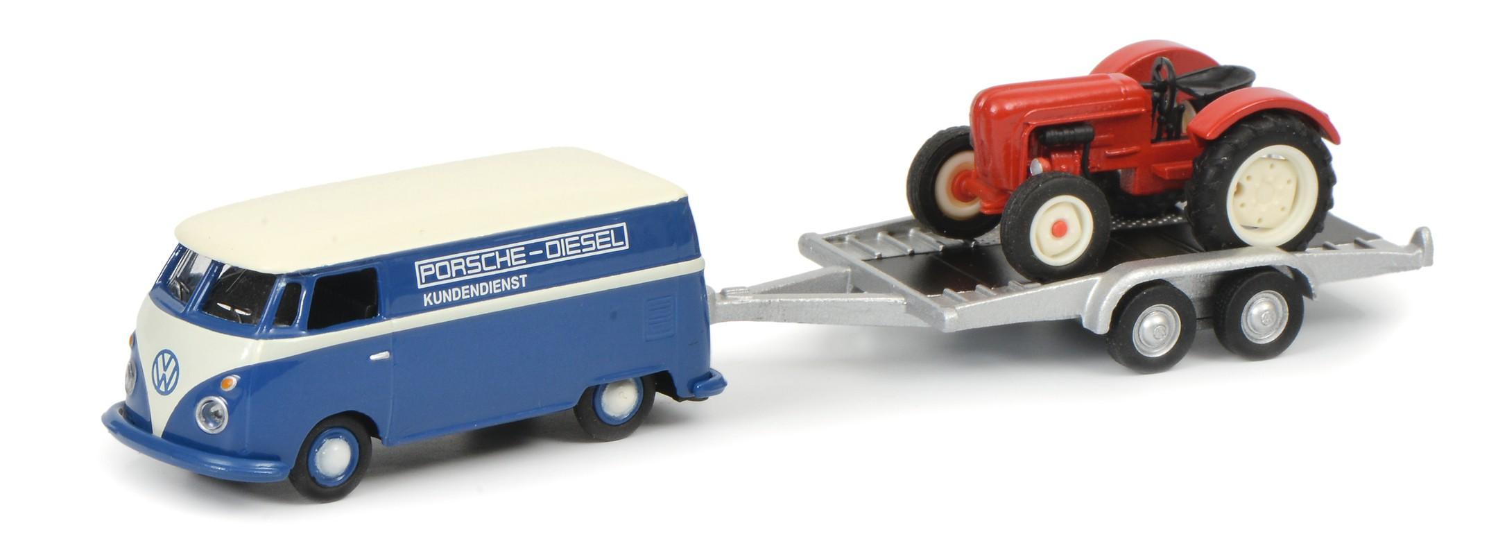 Schuco 452632800 VW T1c Kastenwagen mit Anhänger und Porsche Junior