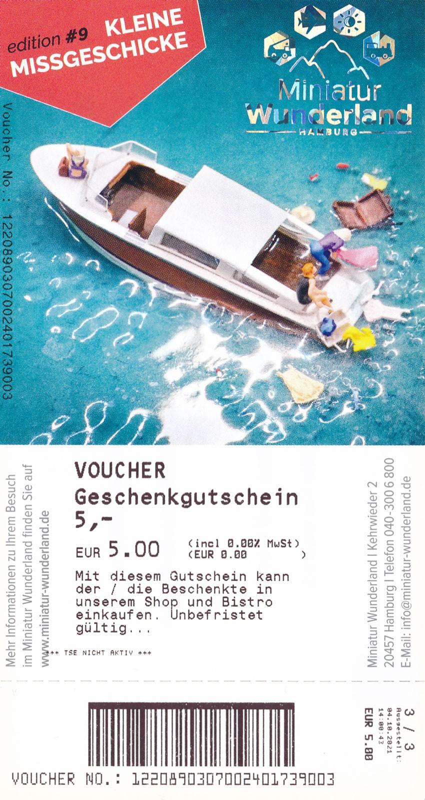 5 Euro Geschenkgutschein - Shop und Bistro