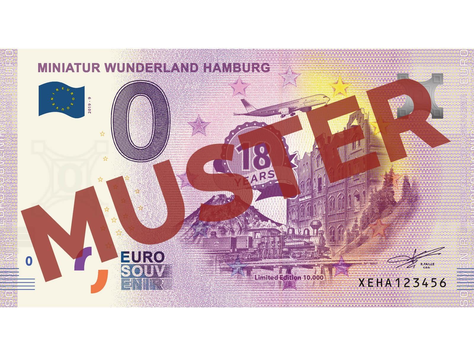"""Euro-Souvenirschein Motiv """"18 Jahre Miniatur Wunderland"""" (2019-9)"""