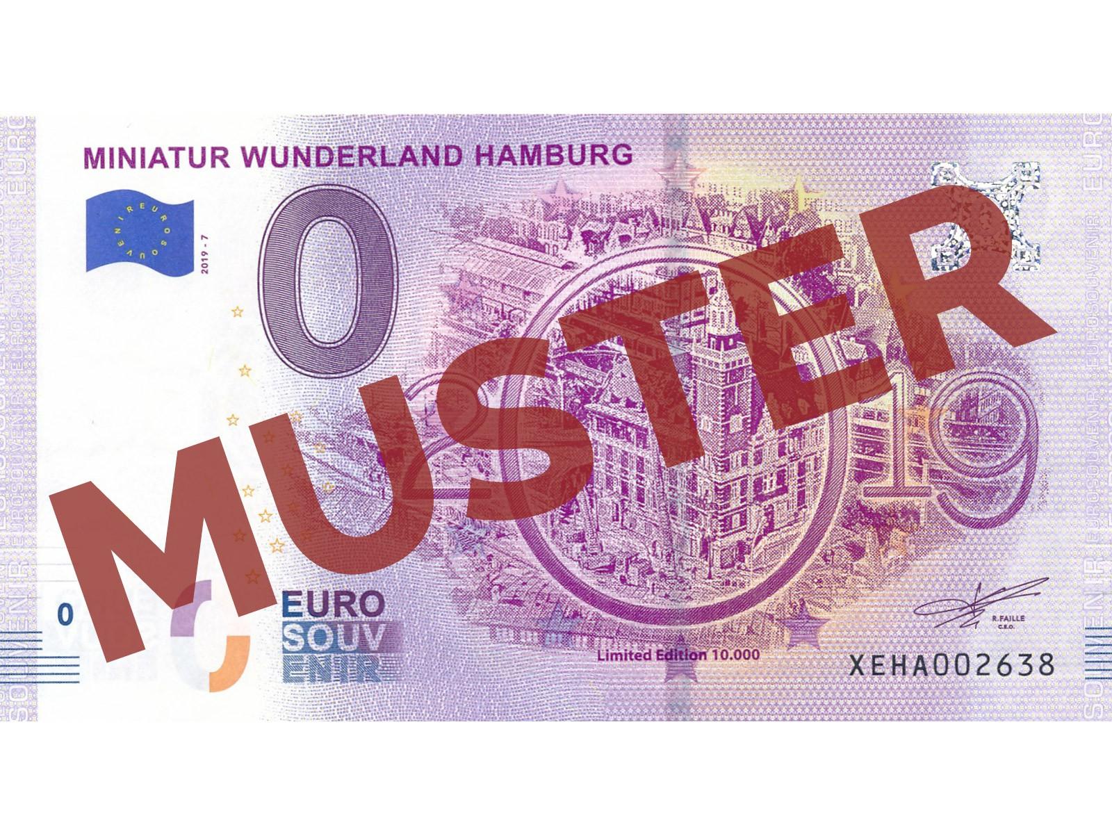 """Miniatur Wunderland Euro-Souvenirschein Motiv 2019 """"brennendes Finanzamt""""  (2019-7)"""