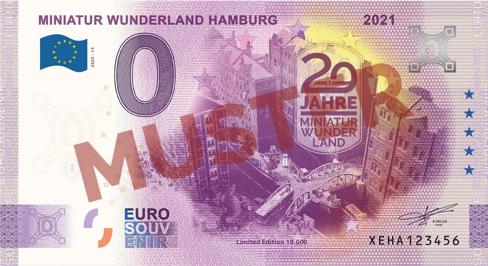 """Euro-Souvenirschein Motiv """"Speicherstadt"""" (2021-15.2) Anniversary-Edition"""