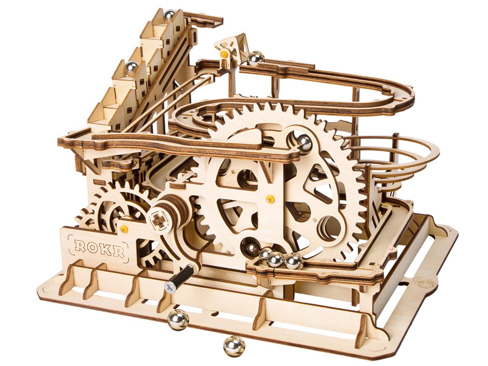 Robotime Mühlrad-Murmelbahn - Holzmodell mit Kugeln