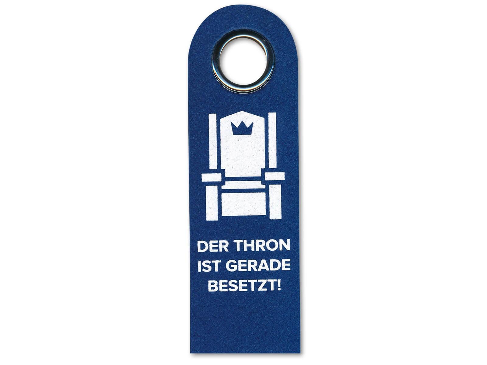 Vorderseite: Der Thron ist gerade besetzt!