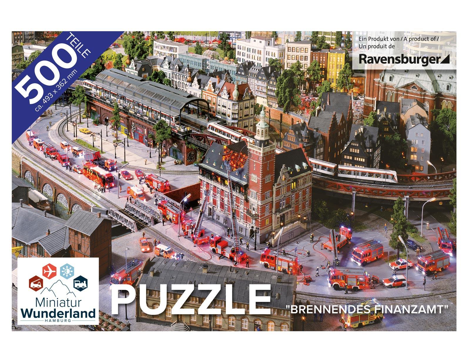 """Puzzle """"Brennendes Finanzamt"""" 500 Teile von Ravensburger"""