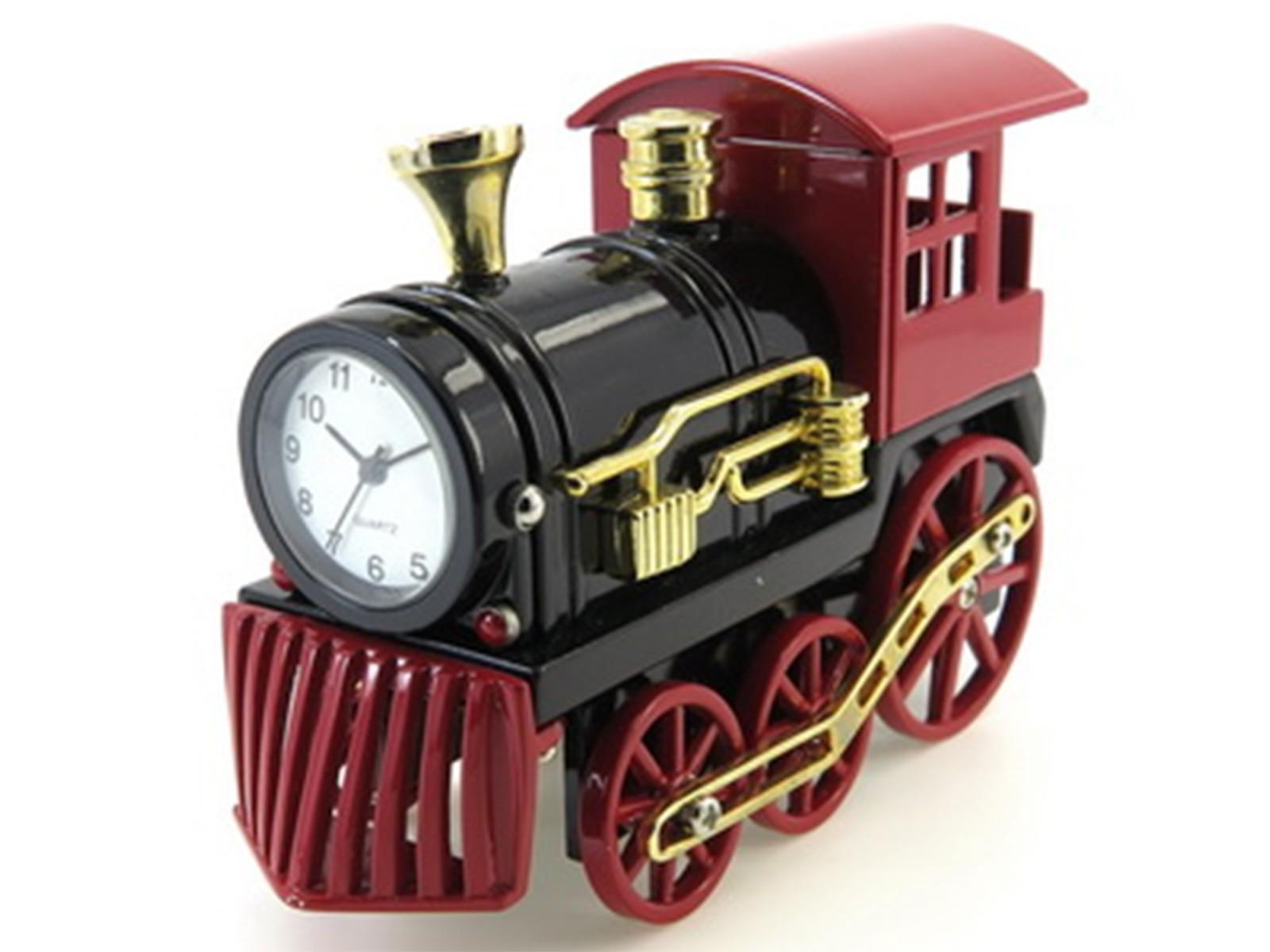 Miniatur-Uhr Dampflok (schwarz/rot)