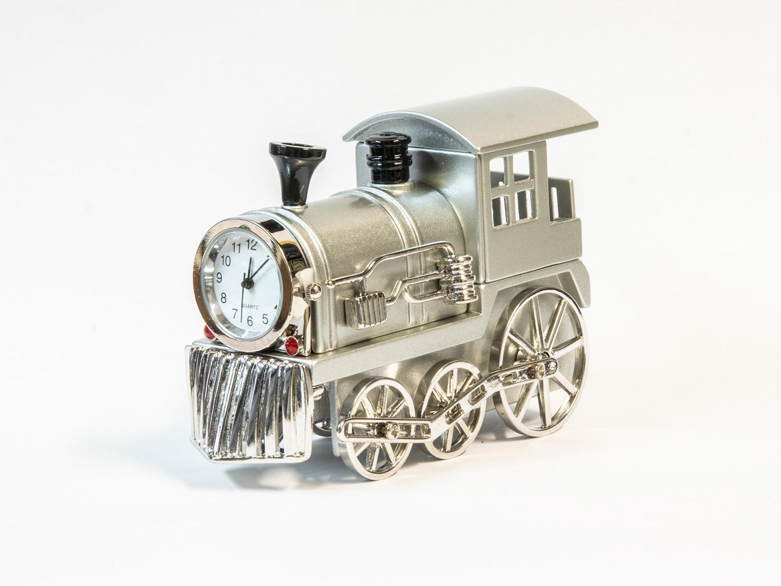 Miniatur-Uhr Dampflok (silber)