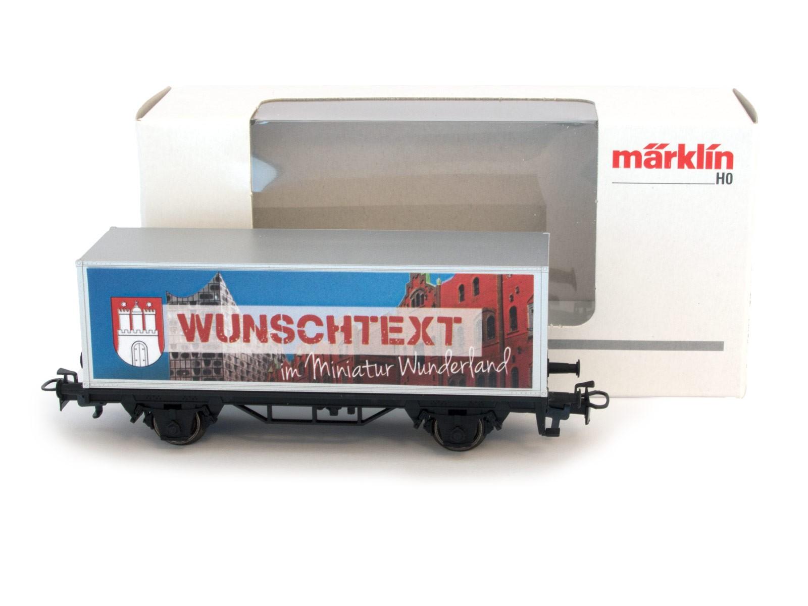Miniatur Wunderland / Märklin H0 Sonderwaggon mit ihrem WUNSCHNAMEN (im Geschenkpaket)
