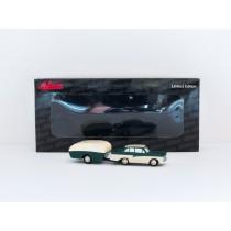 Schuco Piccolo 451414000 Ford 17 M mit Wohnanhänger grün/beige