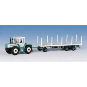 Kibri 12260 H0 MB Traktor mit Rungenflachwagen