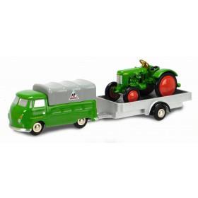 Schuco 450563400 Piccolo VW T1 m. Anhänger u.Traktor