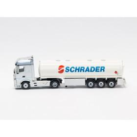 """Schuco 22070 H0 MB Actros mit Tankauflieger """"Schrader"""""""